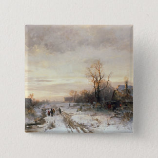 Children playing in a winter landscape 15 cm square badge