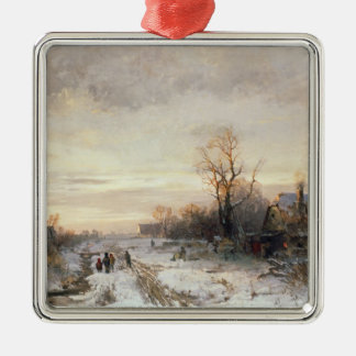 Children playing in a winter landscape christmas ornament