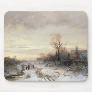 Children playing in a winter landscape mouse mat