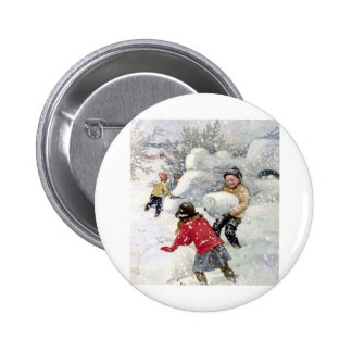 children playing in snow buttons