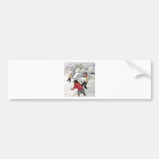 children playing in snow bumper sticker