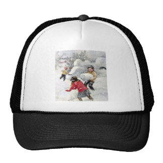 children playing in snow hat