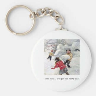 children playing in snow basic round button key ring