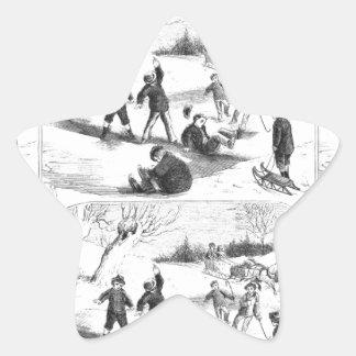 Children Playing In Snow Star Sticker