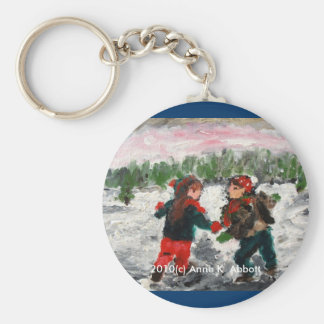 Children Playing in Snowy Clearing, 2010(c) Ann... Basic Round Button Key Ring