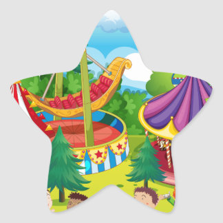 Children playing in the circus star sticker