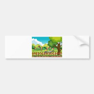 Children playing in the field bumper sticker