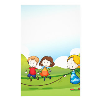 Children playing jumping rope personalized stationery