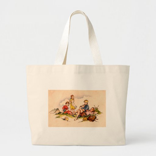 Children Playing Music Antique Watercolor Girls Bag
