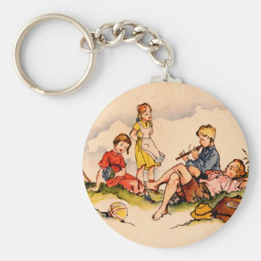 Children Playing Music Antique Watercolor Girls Keychain