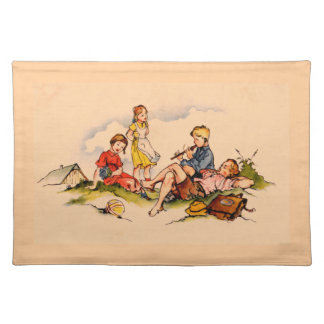 Children Playing Music Antique Watercolor Girls Placemat