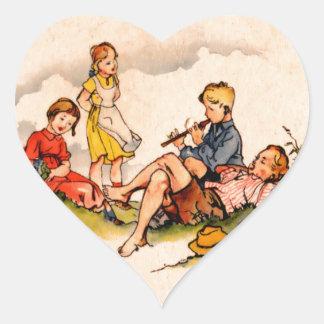 Children Playing Music Antique Watercolor Girls Heart Sticker
