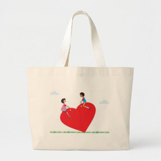 children playing on a heart shaped see-saw canvas bags