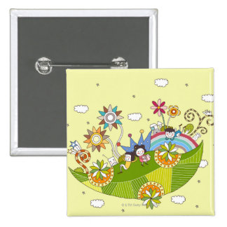Children Playing on a Leaf 15 Cm Square Badge