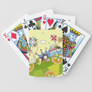 Children Playing on a Leaf Bicycle Playing Cards
