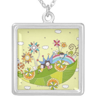 Children Playing on a Leaf Silver Plated Necklace