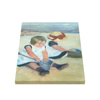 Children Playing On Beach Vintage Oil Painting Canvas Print