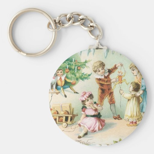 Children Playing on Christmas Keychain