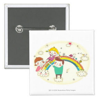 Children playing on rainbow pin