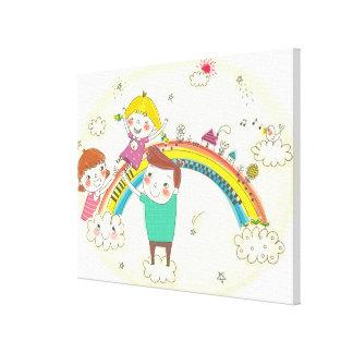 Children playing on rainbow canvas print