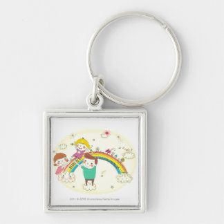 Children playing on rainbow Silver-Colored square key ring