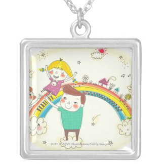 Children playing on rainbow silver plated necklace