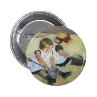 Children Playing on the Beach by Mary Cassatt 6 Cm Round Badge