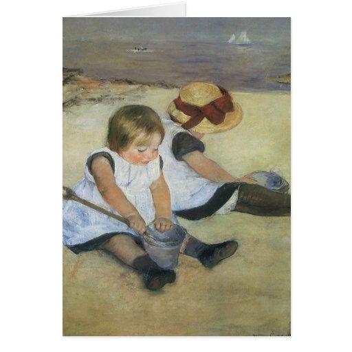 Children Playing on the Beach by Mary Cassatt Card