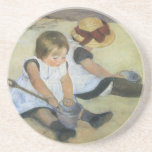 Children Playing on the Beach by Mary Cassatt Coasters