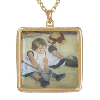 Children Playing on the Beach by Mary Cassatt Gold Plated Necklace