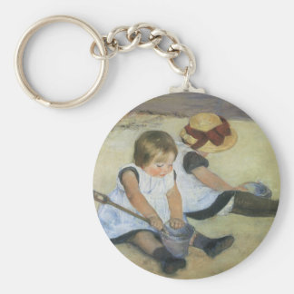 Children Playing on the Beach by Mary Cassatt Basic Round Button Key Ring