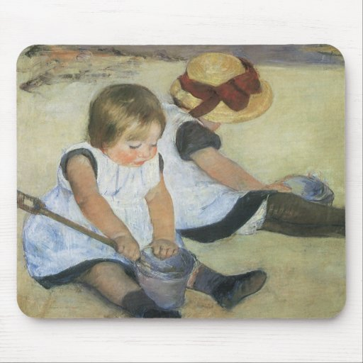Children Playing on the Beach by Mary Cassatt Mouse Pads