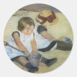 Children Playing on the Beach by Mary Cassatt Round Sticker