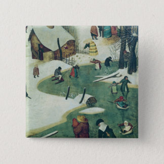 Children Playing on the Frozen River 15 Cm Square Badge
