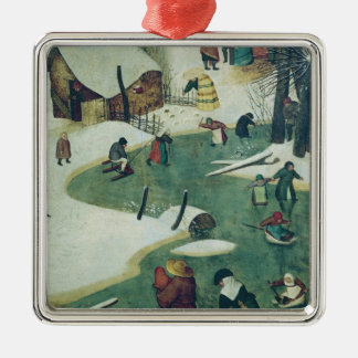Children Playing on the Frozen River Christmas Ornament