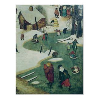 Children Playing on the Frozen River Poster