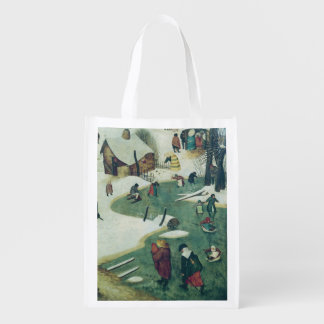 Children Playing on the Frozen River Reusable Grocery Bag