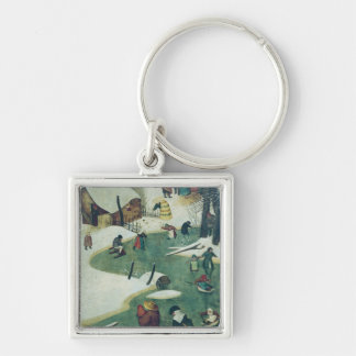 Children Playing on the Frozen River Silver-Colored Square Key Ring