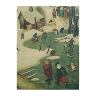 Children Playing on the Frozen River Wood Wall Art