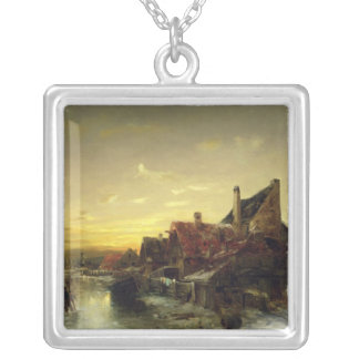 Children Playing on the Ice Silver Plated Necklace