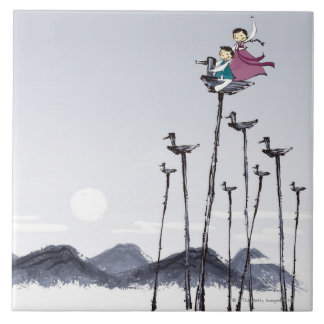 Children Playing on Wooden Bird Large Square Tile
