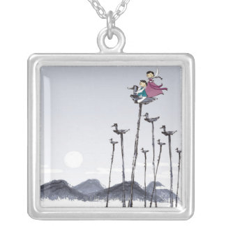 Children Playing on Wooden Bird Silver Plated Necklace