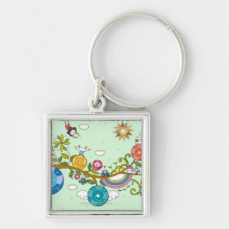 Children Playing Silver-Colored Square Key Ring