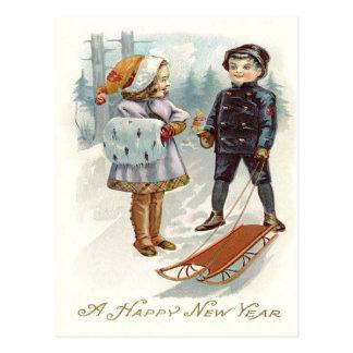 Children Playing Snow Winter Sled Sleigh Postcard