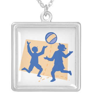 Children Playing with Ball Square Pendant Necklace