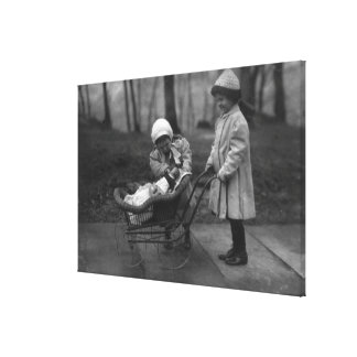 Children Playing with Campbell Kid Doll Stretched Canvas Print