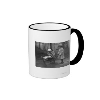 Children Playing with Campbell Kid Doll Coffee Mugs
