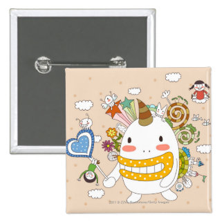 Children playing with monster 15 cm square badge