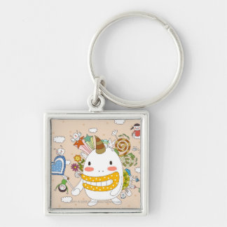 Children playing with monster key chains