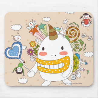 Children playing with monster mouse pad